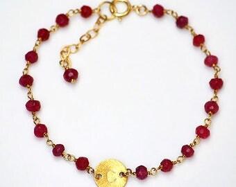 Initial bracelet, Personalized bracelet, custom ruby wire wrapped bracelet, sweetheart bracelet, id bracelet, July Birthstone, ruby bracelet