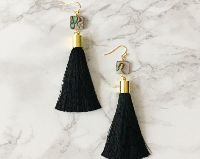 Black Tassel Drop Earrings - Abalone Shell
