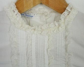 Vintage Kids 1950's Cotton Lace Victorian Blouse size 8 S/M