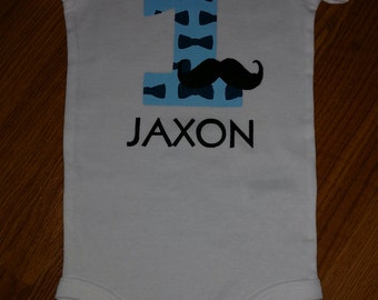 Mustache & Bowtie Theme 1st Birthday Boy Onesie or T-Shirt - Personalized