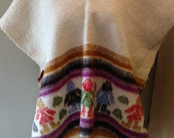 Vintage WOOL Mexican Poncho Cape Colorful People Print Boho Hippie