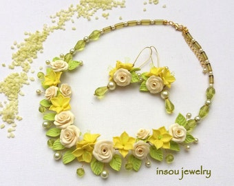 Floral Necklace, Yellow Necklace, Yellow Earrings, Yellow Green, Statement Necklace, Spring Jewelry, Necklace Earrings, Wedding Jewelry