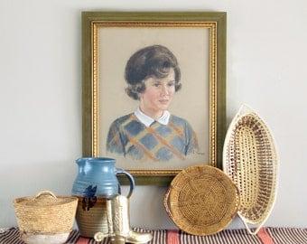 Vintage Pastel Portrait Framed with Glass