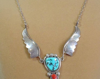"GORGEOUS 22"" Native American Necklace - Sterling Silver, Turquoise and Red Coral - VN038"