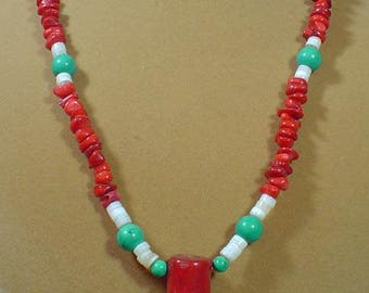 "23"" Red Coral and Turquoise Necklace with Red Branch Coral Pendant - N487"