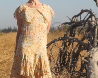 Gorgeous 1920s sheer floral drop waist dress . SM
