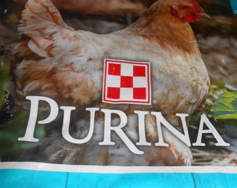 Buff Colored Hen Tote ~ Up-cycled Market tote / Purina Chicken Bag