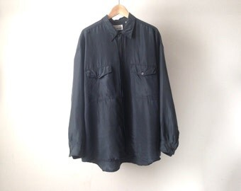 90s black SILK oversize slouchy t shirt blouse