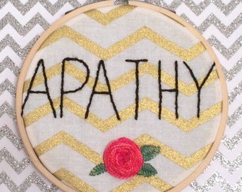 Framed Apathy Handmade Embroidery With Rose Detail, Finished Piece