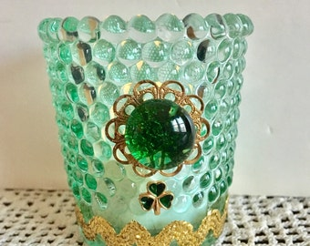 Repurposed Green Candle Holder, Votive Candle Holder, Shamrock Decor, Altered Glassware, Upcycled Glass, Recycled Jewelry Craft, Holiday