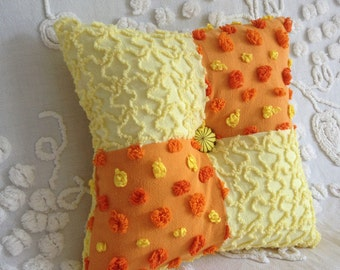 Pillow Vintage Chenille Morgan Jones and Cabin Crafts  in Orange and Yellow 12 x 12""