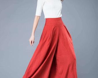 orange wide leg pants, wide leg trousers, women trousers, long trousers, fashion pants, spring trousers, linen harem pants    C1043