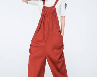 Linen pants, linen overalls, linen suspender,  orange linen pants,  orange linen trouser,  plus size linen pants, long suspender     C1058