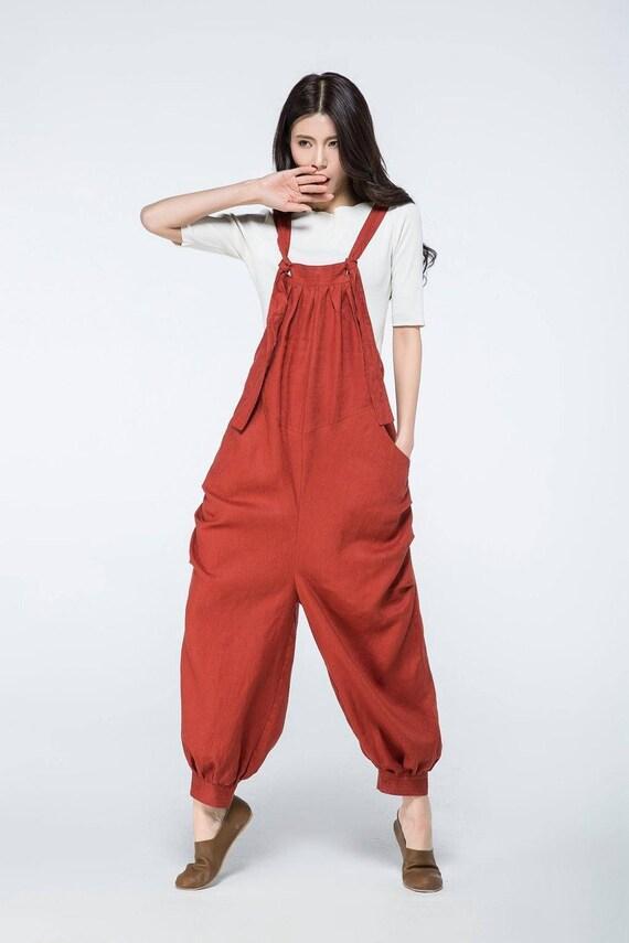 Linen pants linen overalls linen suspender orange linen