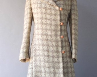 Vintage 60s Houndstooth Coat / 60s Checked Wool coat