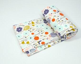 "Organic Baby Blanket, Girl blanket, Garden, flowers, modern, peach, mint, GOTS, baby, blanket, 100% Organic Cotton fleece Blanket, 30"" x 34"""