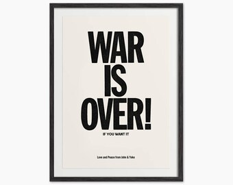 WAR IS OVER! poster - Yoko Ono and John Lennon iconic War Is Over print