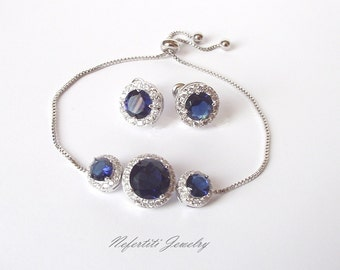 sapphire bridal earrings and bracelet blue bridal jewelry sapphire bridesmaid jewelry set royal blue wedding jewelry saphire jewelry