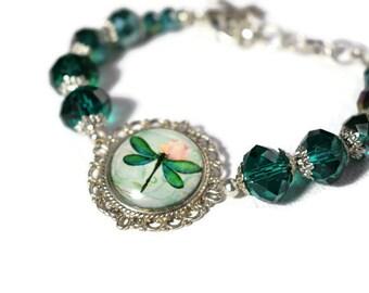 Teal Dragonfly Bracelet - Dragonfly Bracelet - Teal Beaded Bracelet - Gifts for Mums - Crystal Glass Bracelet