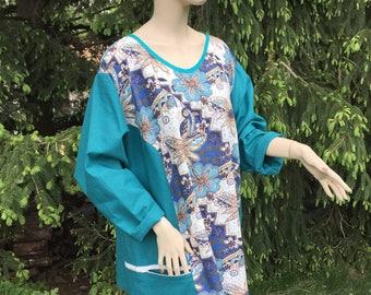 Linen Bohemian Chic Lagenlook 4X 5X Top 100% Natural Linen Zipper Pockets Jumper Floral Breathe Clothing European Plus Size Unique Style Top