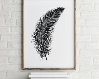 Feather Illustration, Scandinavian Print, Black and White, Digital Download Large Downloadable Print, Instant Download, Minimal Design Print