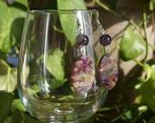 Purple Shell/Amethyst Earrings, Women's Earrings, Purple Dangle Earrings