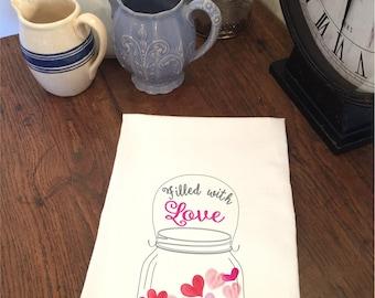 Valentine's Day Jar Filled with Love Hearts White Flour Sack Hand Towel Tea Towel Dish Towel Bathroom Hand Towel Valentine Gift Mom