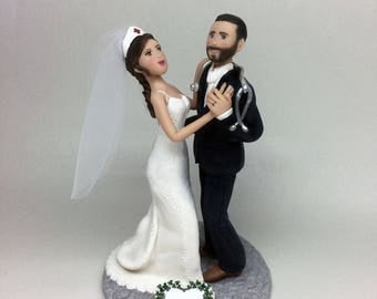 Nurse Bride and Groom Wedding Cake Topper From your Ideas and Photos