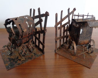 Vintage Pair of Flame Cut Brutilist Bookends ,Western Theme, Stagecoach,Covered Wagon,Rustic Bookends,Country Bookends Primative bookends