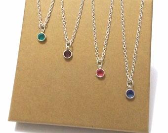 Birthstone Necklace, Birthstone Gift, Birthstone Jewellery, Birthday Necklace, Birthday Gift, Swarovski Crystal Birthstone Charm Necklace
