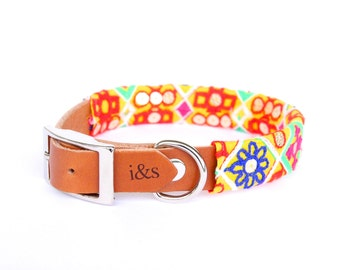 Dog Collar - Leather with Textile Sleeve // Embroidered Tapestry // Optional ID Tag