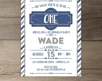 First Birthday Invitations • Oh what fun it is to be one • invites • Blue Silver Stripes Boy • printable