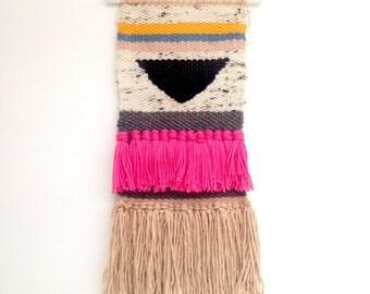 Handmade Woven Wall Hanging - boho fibre art tapestry