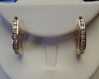 Classic Solid 14K Yellow Gold Channel Set Diamond Earrings 3/4 Carat and One Inch Long
