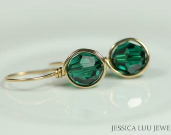 Gold Emerald Earrings Green Swarovski Crystal Earrings Wire Wrapped Jewelry Rose Gold Earrings Swarovski Crystal Jewelry Emerald Earrings