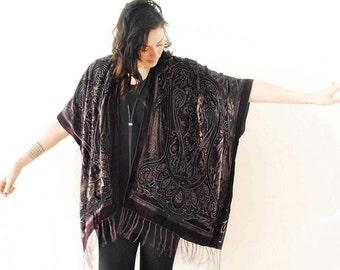 Velvet Kimono: Eggplant and Heather Filigree Gypsy Fortune Teller Paisley Velvet Burnout Fringe Kimono Cover Up