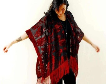 Velvet Kimono:Red and Black Floral Velvet Burnout Kimono Jacket Cover Up, Fringe, Poncho