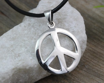 Sterling silver Peace Sign Necklace, Peace Necklace, Silver Peace sign Pendant Necklace. Choose your chain, Peace sign Jewelry. Medium-784
