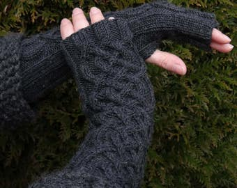 Celtic wristwarmers - celtic fingerless gloves - fingerless gloves - fingerless mittens - aran mittens - cable knit armwarmers - merino wool