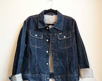 Oversize Denim Jacket Vintage Dark Blue Navy Jean Grunge 80s 90s Classic Blue Denim Unisex Collared Coat Diesel Designer