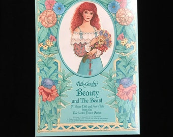 Beauty and the Beast, Vintage Peck-Gandre Paper Doll, Enchanted Forest Series, Grimm's Fairy Tale