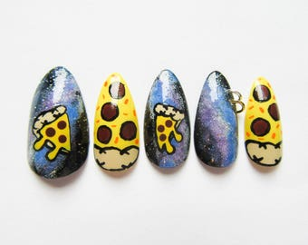 24 Pizza Galaxy Stiletto Nails / Fake Nails / False nails / Acrylic Nails / Press on / Stiletto / Pierced / 90s / Nails