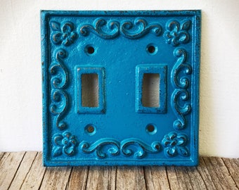 Teal Blue Rustic Fleur De Lis Decorative Cast Iron Double Light Switch Cover / Shabby French Country Chic / Light Switch Plate / Lighting