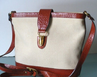 Talbots Made in Italy Leather & Linen Shoulder Bag