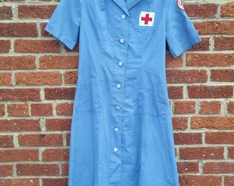 Vintage 1940s 50s American Red Cross Volunteer Nurse Dress Mercantile Uniform