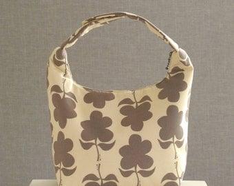 Lunch Bag Insulated, Women Lunch Bag, Chevron Lunch Bag,Fabric Lunch Bag, Eco Friendly Lunch Tote, Brown Daisy Shape on Beige