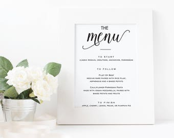 PRINTABLE Wedding Menu Sign (8x10)