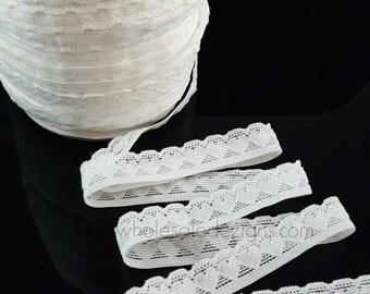 "White Heart Ruffled FOE Fold Over Elastic - 5/8"" White Lace Heart Shapes - Headbands - Hair Ties - Decoration"