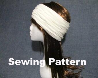 adult headband sewing pattern pdf, women men jersey headwrap sewing pattern, yoga sport ear warmer headband pattern, turban hairwrap pattern