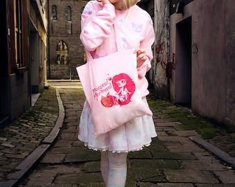 girly pink holographic magical mermaid print tote bag - kawaii chibi manga mermaid bag - pastel goth soft grunge fairy kei bag